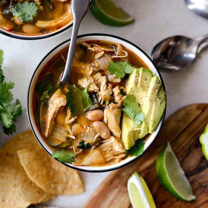 White Bean Chicken Poblano Stew l SimplyScratch.com #beans #chicken #stew #healthy #easy #ww #mexican #lowpointrecipe