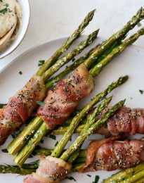 Bacon Wrapped Asparagus Bundles l SimplyScratch.com #bacon #asparagus #easter #sidedish #brunch #mustarddip #easy #recipe