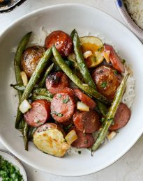 Honey Barbecue Sausage Sheet Pan Dinner l SimplyScratch.com #kielbasa #turkey #sausage #sheetpan #dinner #meal #easy #recipes #greenbeans #potatoes #honey #barbecue