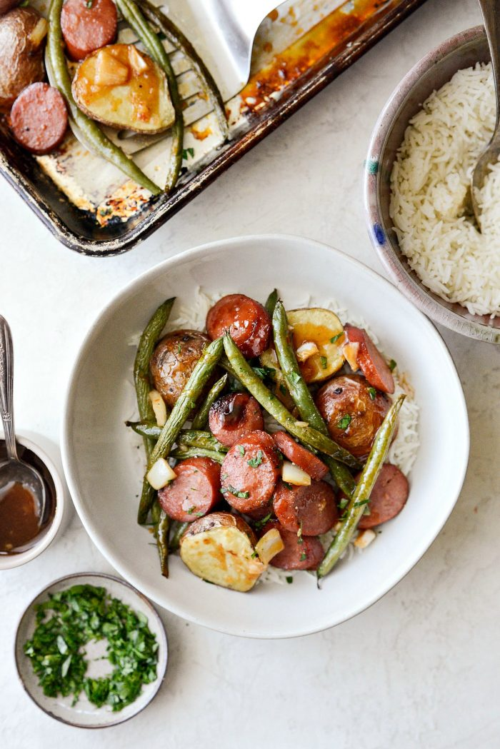 Honey Barbecue Sausage Sheet Pan Dinner - Easy Weeknight Meals