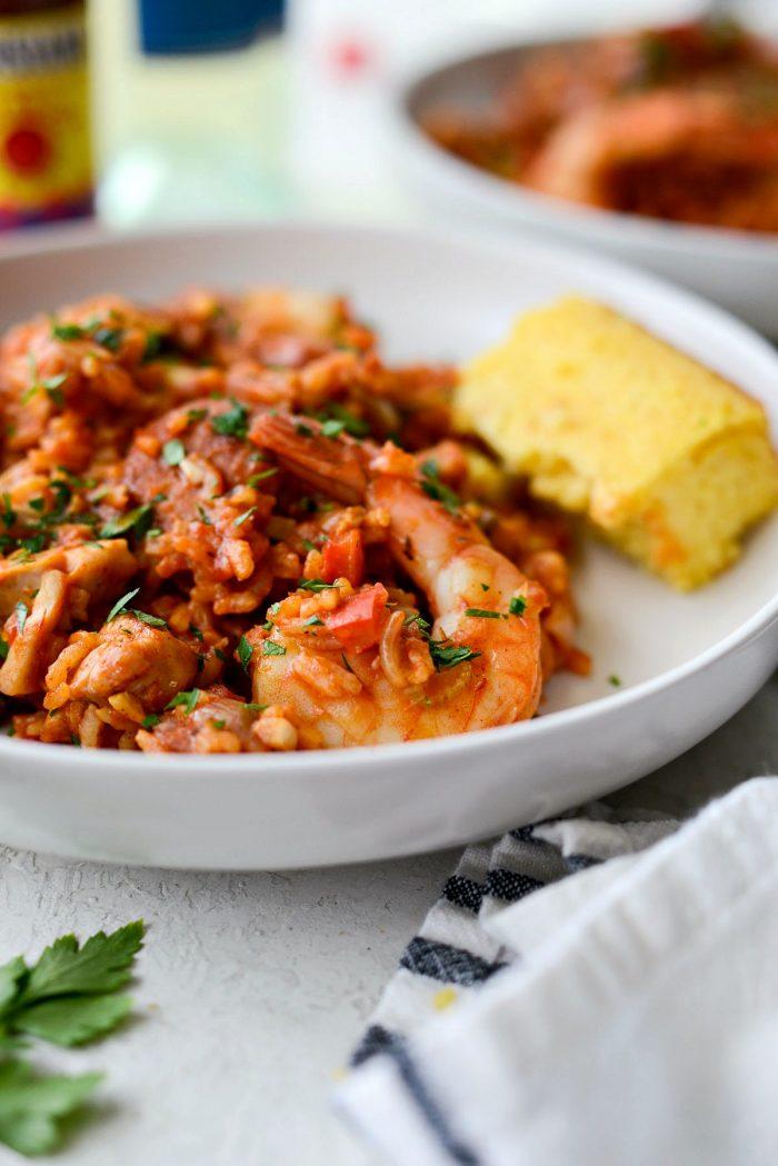 One Pot Jambalaya Recipe l SimplyScratch.com #skillet #shrimp #andouille #rice #creole #chicken #homemade