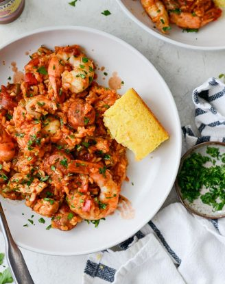 One Pot Jambalaya Recipe l SimplyScratch.com #skillet #shrimp #andouille #rice #creole #chicken #homemade