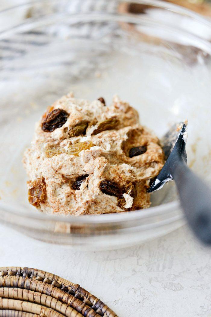 stir raisins into dough.