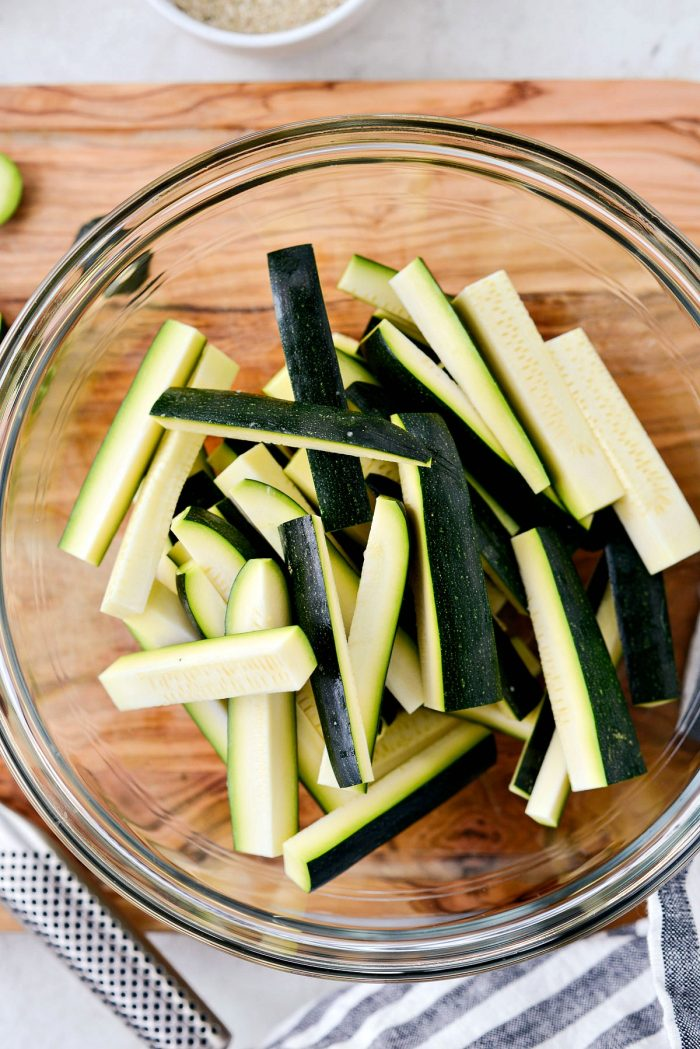 glass bowl of zucchini sticks