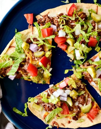 Cheeseburger Tortilla Pizza l SimplyScratch.com #cheeseburger #tortilla #pizza #quick #easy #beef