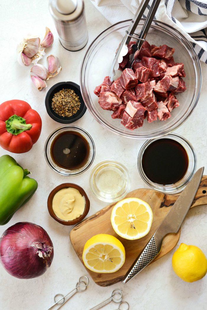 grilled marinated steak kebabs ingredients