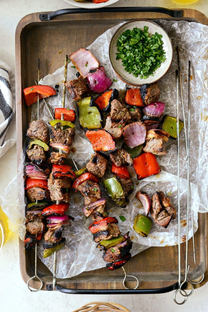 kebabs removed from skewers.