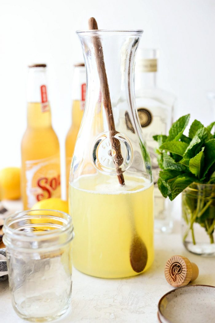 sweetened lemon gin mixer in glass jar