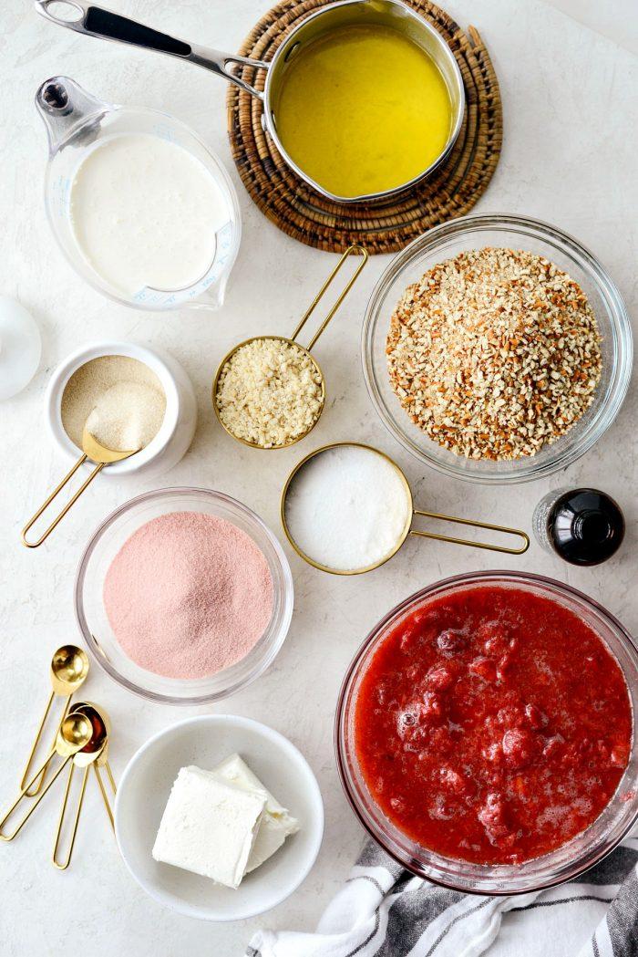 strawberry pretzel dessert bar ingredients
