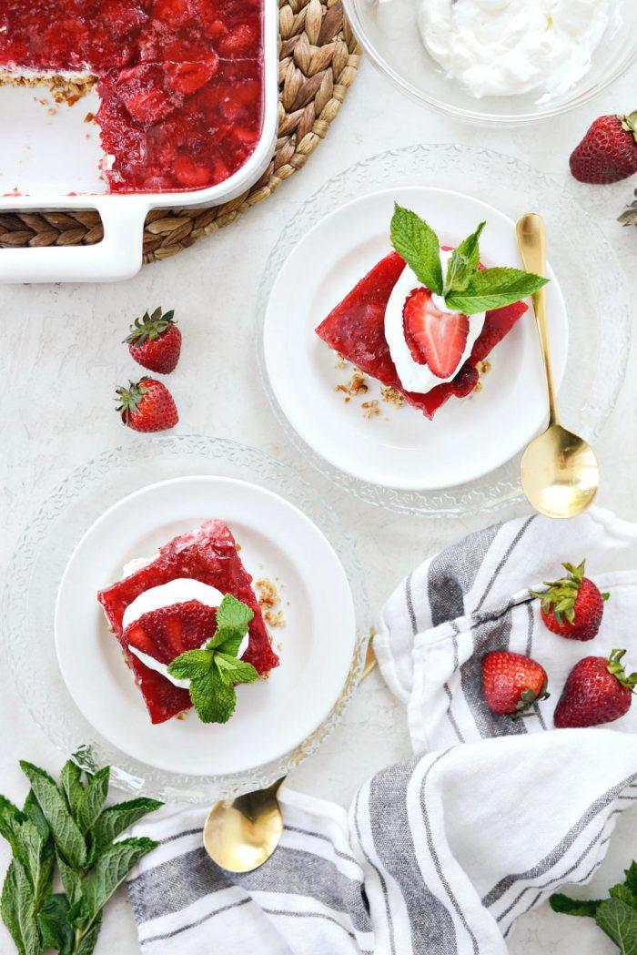 cut the strawberry pretzel dessert bars into squares.