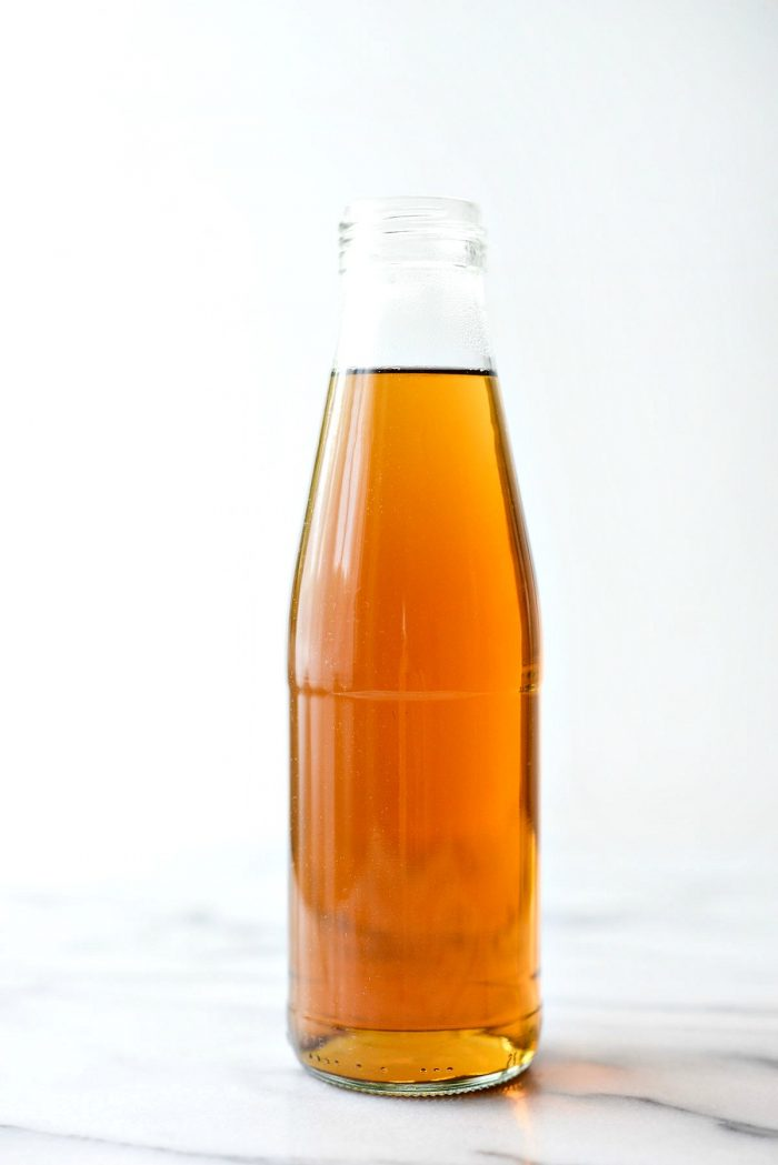 bottle of homemade vanilla coffee syrup.