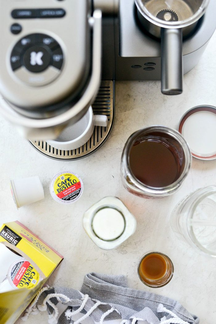 ingredients with Keurig for Iced Caramel Vanilla Latte.
