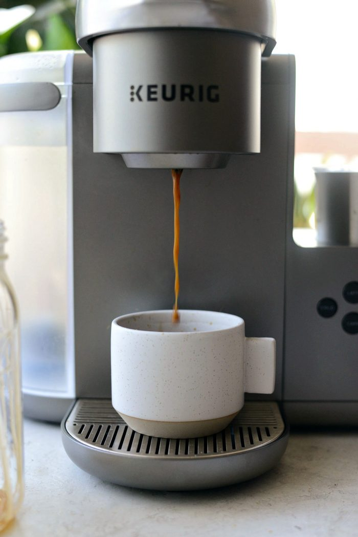 keurig brewing a shot of espresso.