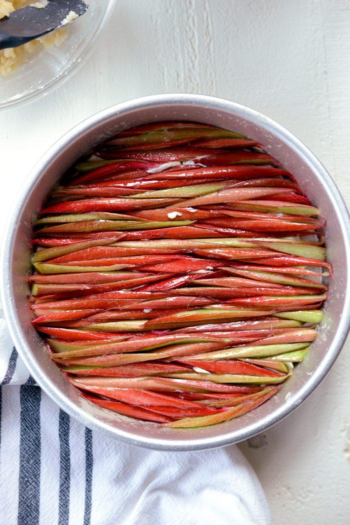 sliced rhubarb mosaic-ly pressed into pan.
