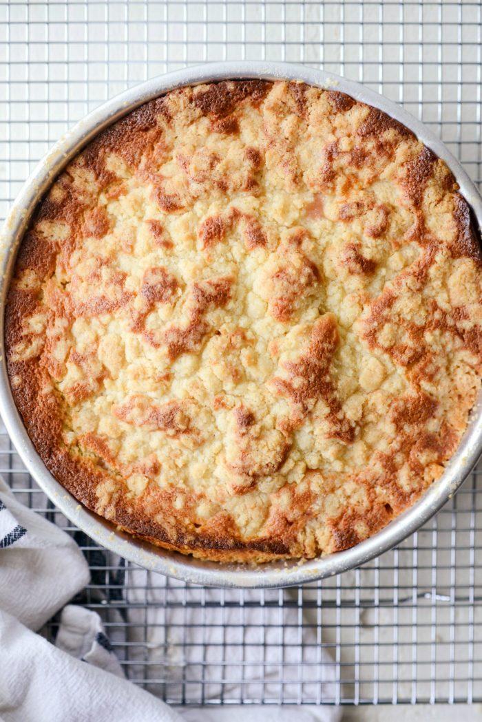 freshly baked rhubarb upside down cake.