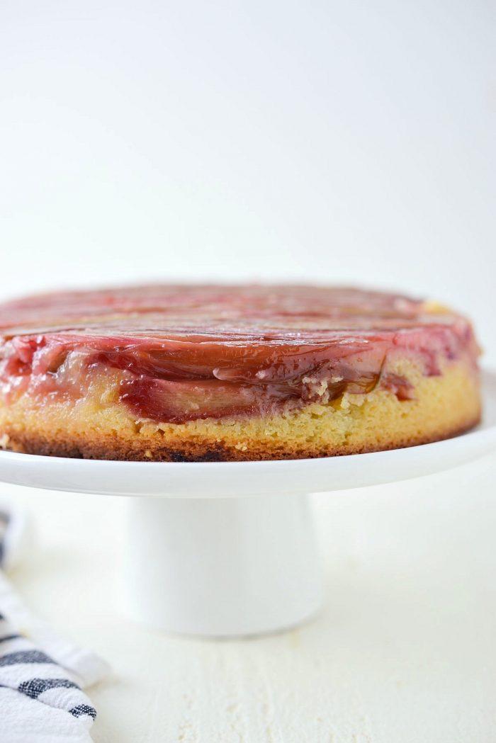 side view of Martha's Rhubarb Upside Down Cake.