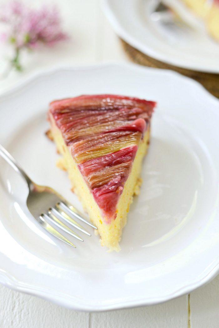 Slice of Martha's Rhubarb Upside Down Cake.