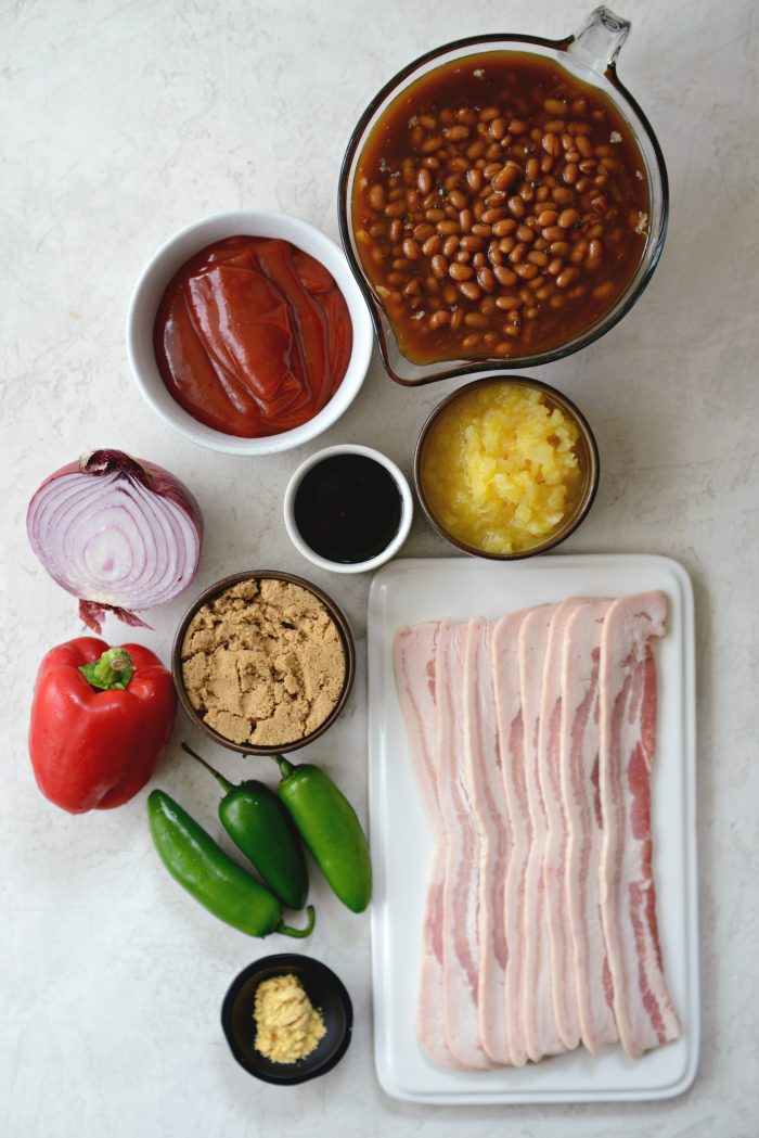 ingredients for one pot wicked baked beans.