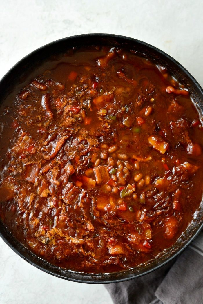 one pot wicked baked beans hot out of the oven.