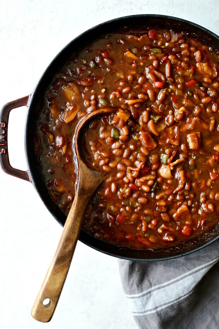 one pot wicked baked beans in red pot
