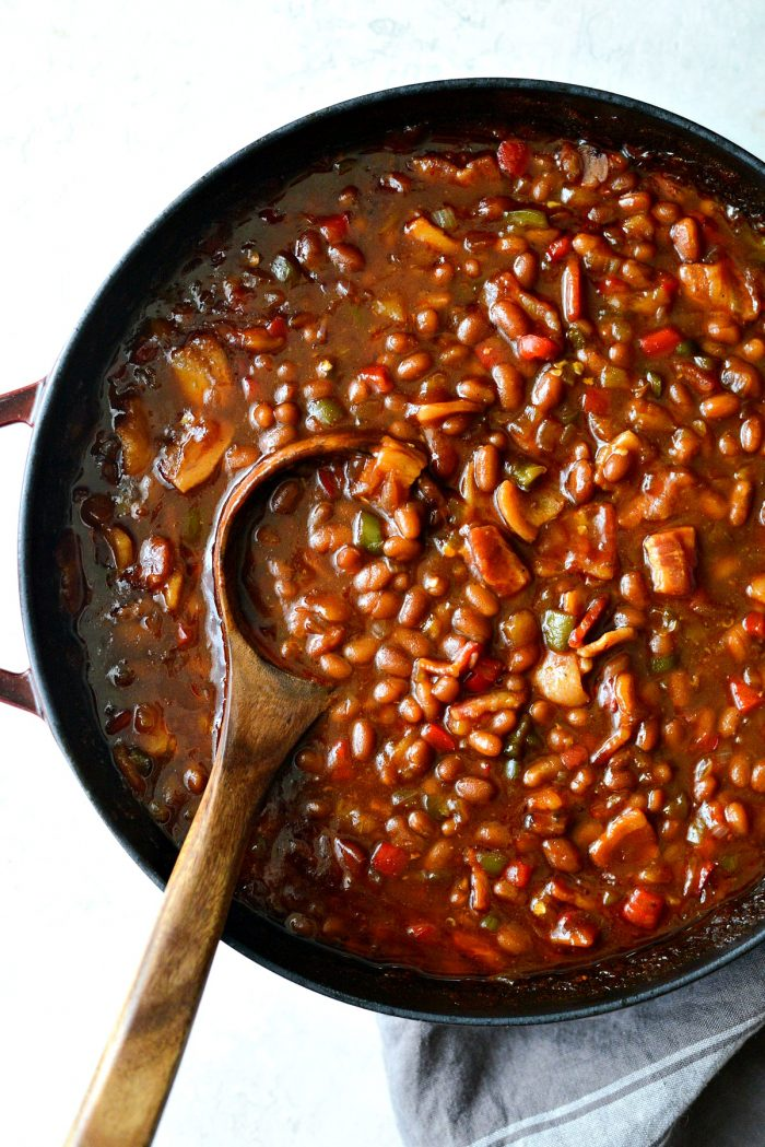 wooden spoon in one pot wicked baked beans