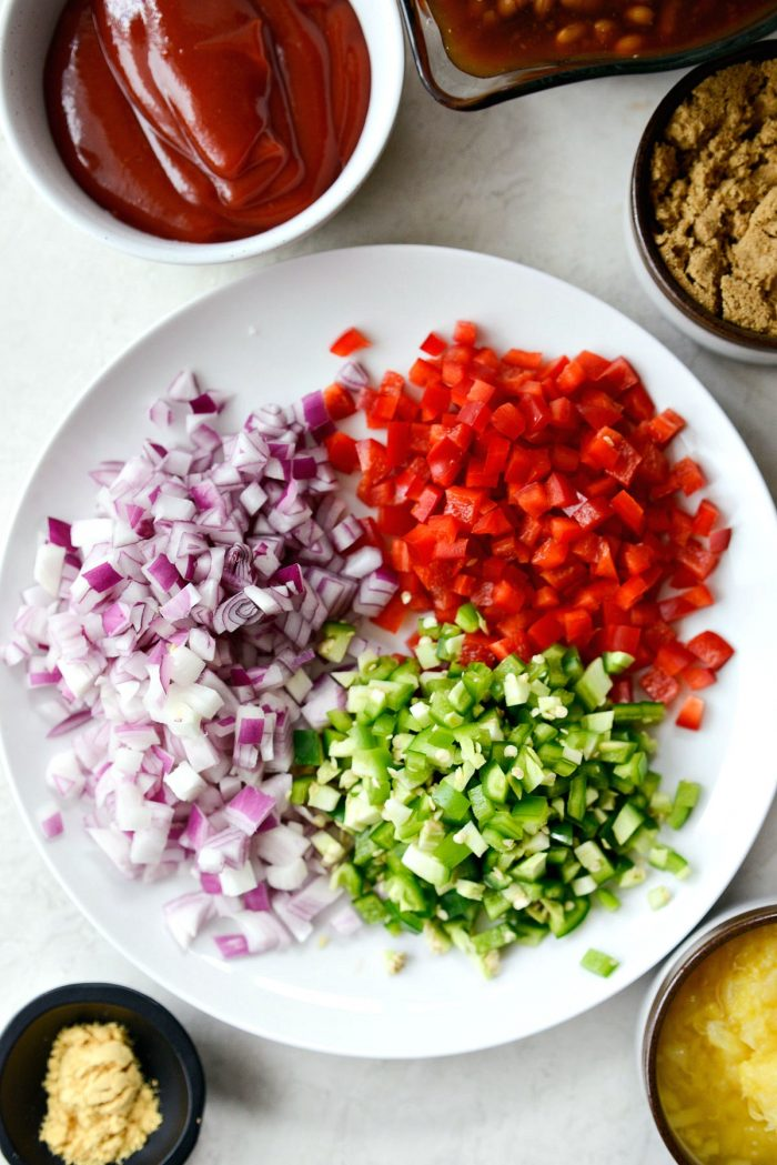 diced red onion, bell pepper and jalapenos