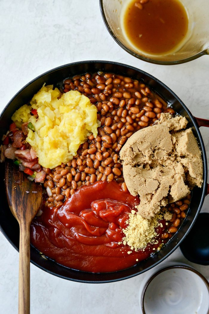 add beans, ketchup, crushed pineapple, brown sugar, mustard and worcestershire sauce.