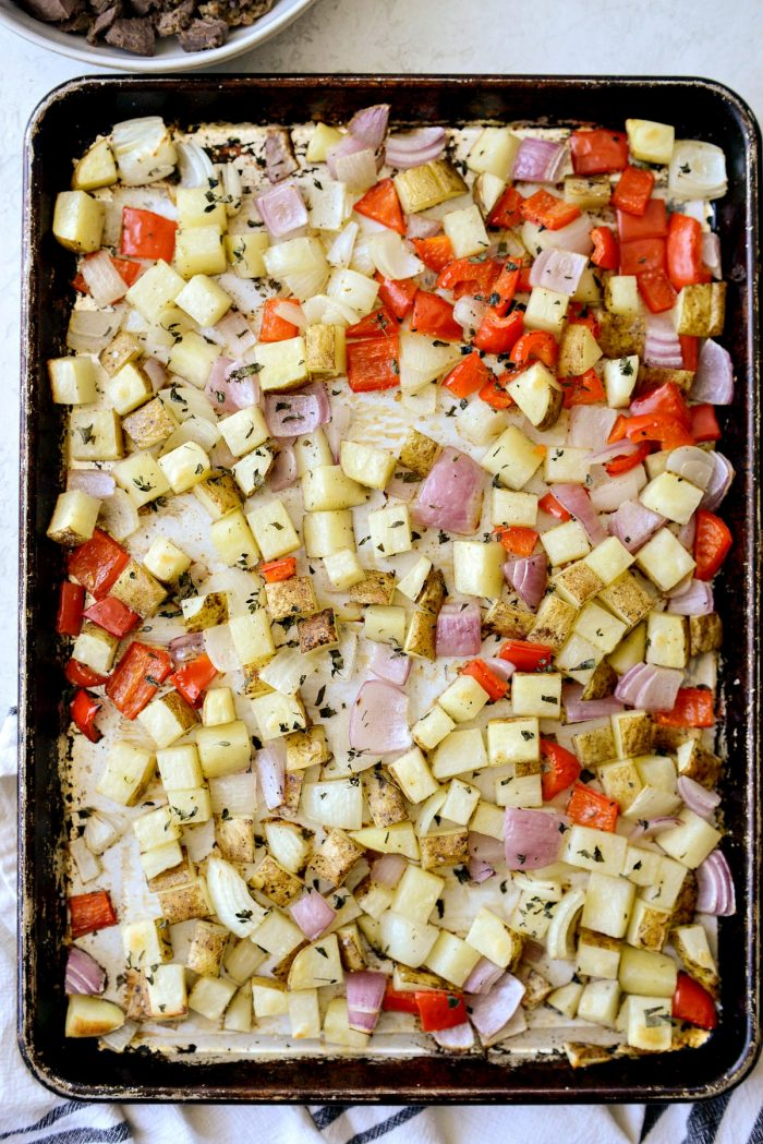 tossed in olive oil and herbs before roasting.