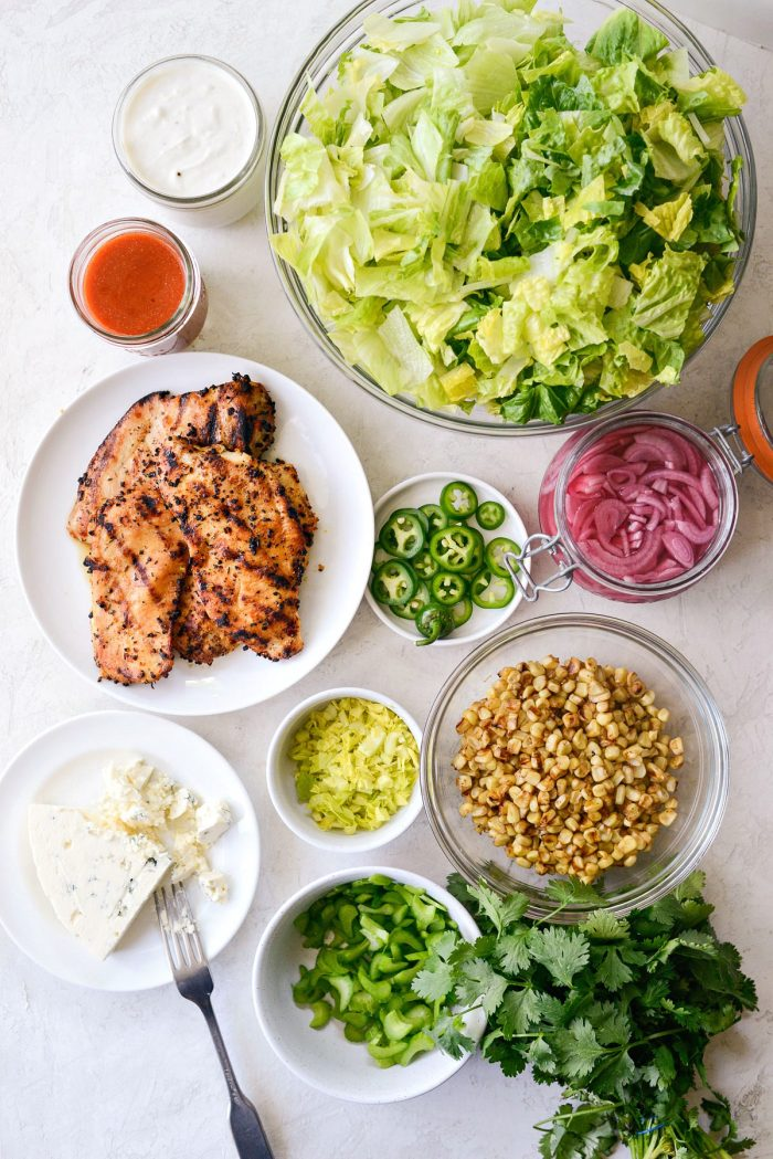 Summer Buffalo Grilled Chicken Salad ingredients.