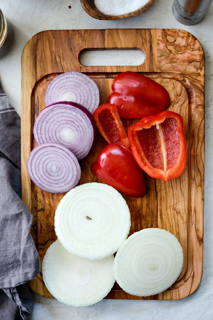 red bell pepper, red onion and vidalia onion sliced
