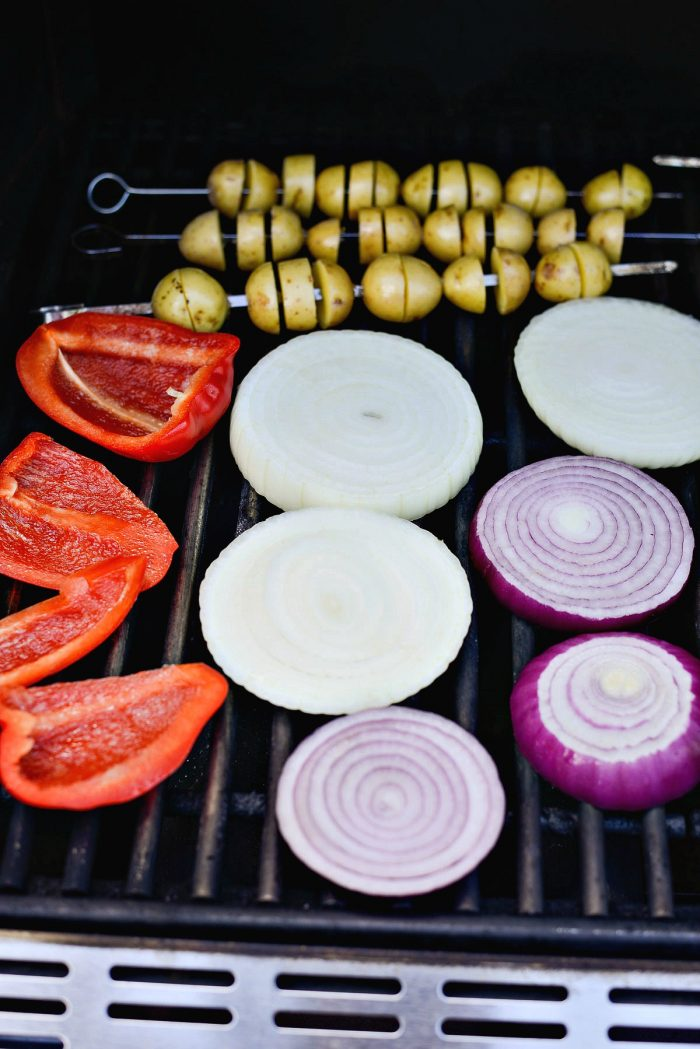 grilling potatoes, onion and pepper