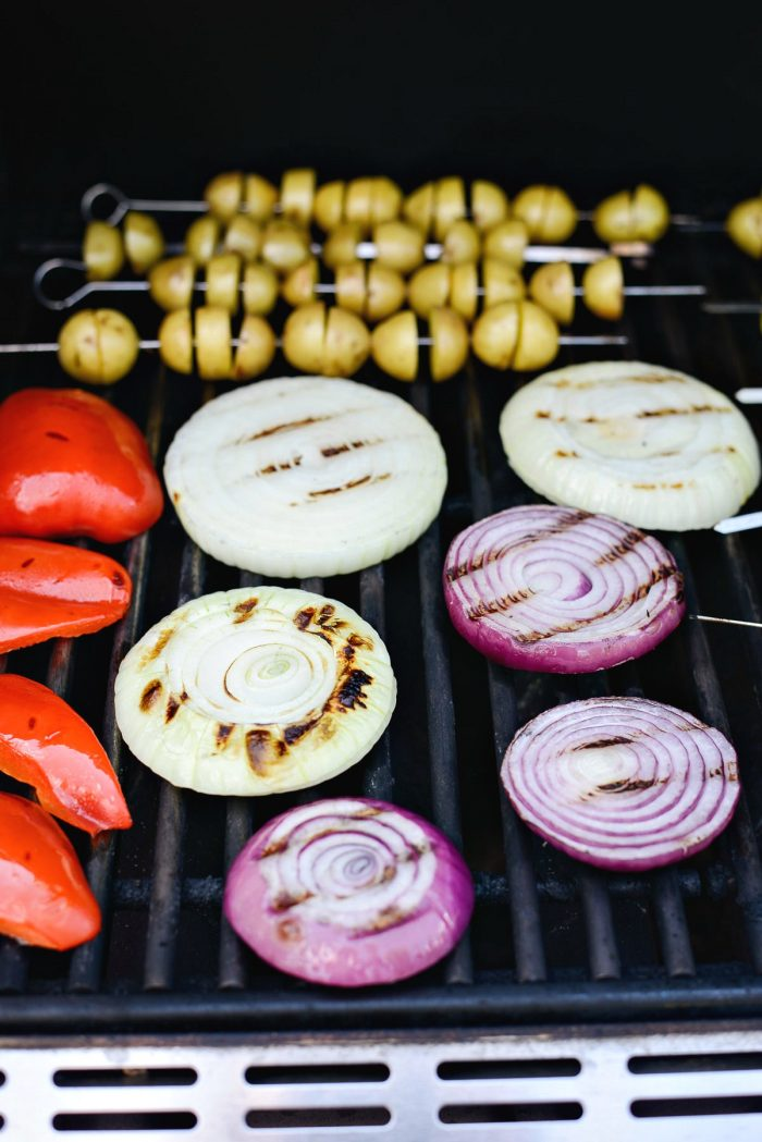grill marks on onions and peppers
