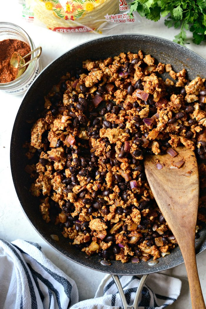 chipotle chicken taco filling in skillet