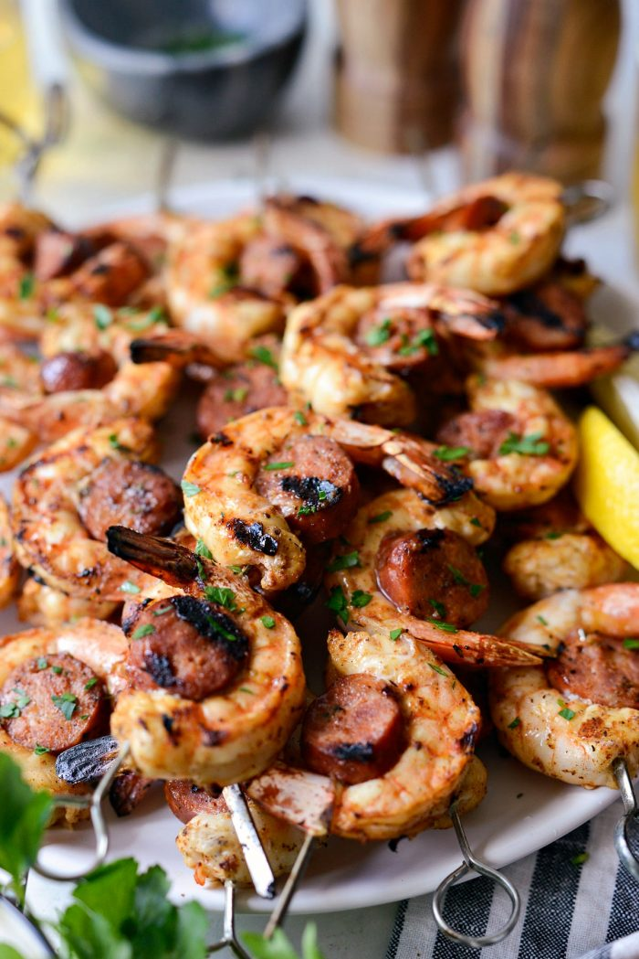close up of Grilled Cajun Shrimp and Andouille Skewers.