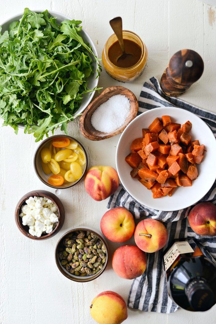 Grilled Peach Sweet Potato Arugula Salad ingredients