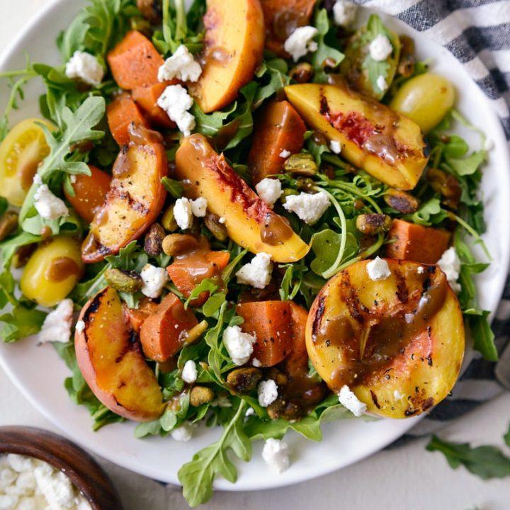 Grilled Peach Sweet Potato Arugula Salad