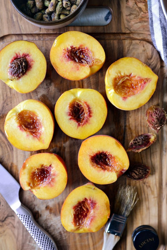 peach halves brushed with olive oil.