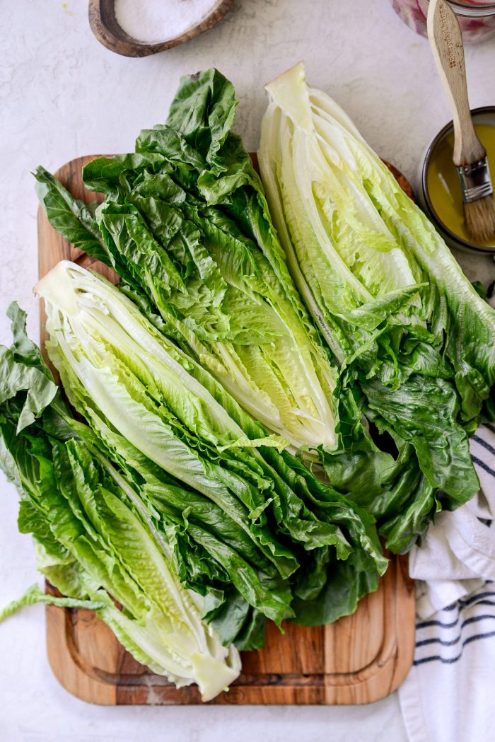 romaine lettuce cut in half