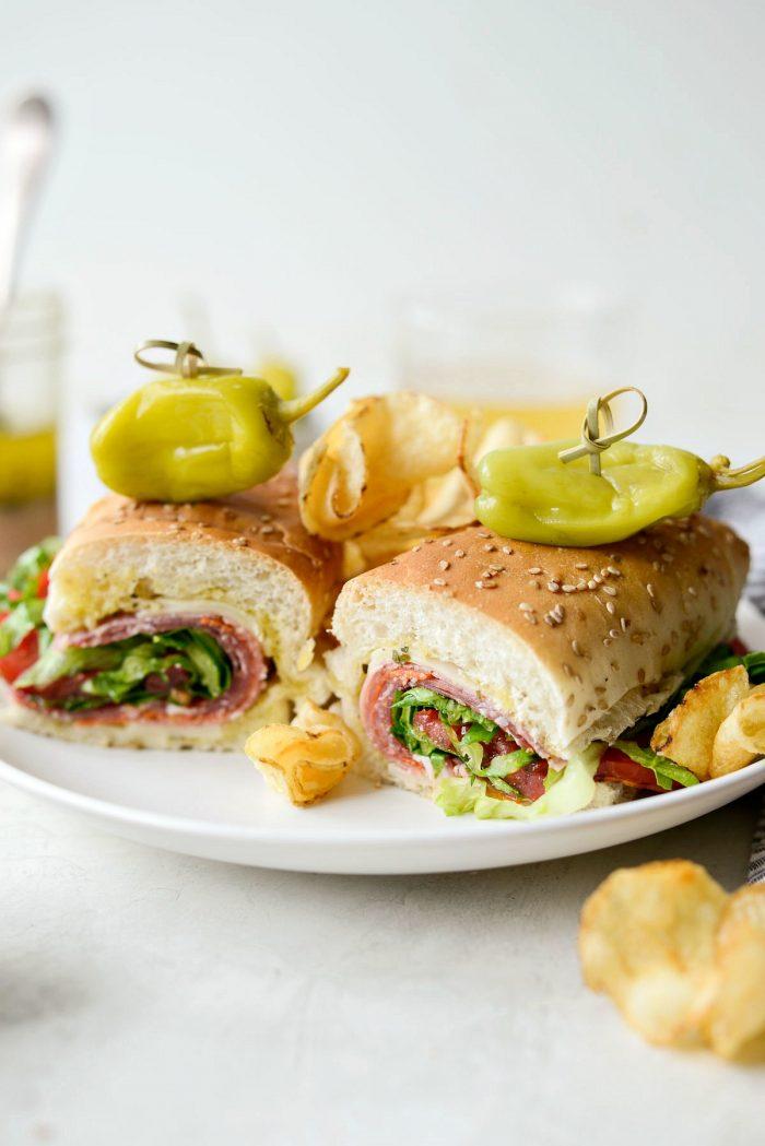 Italian sub sandwich with peperoncini's