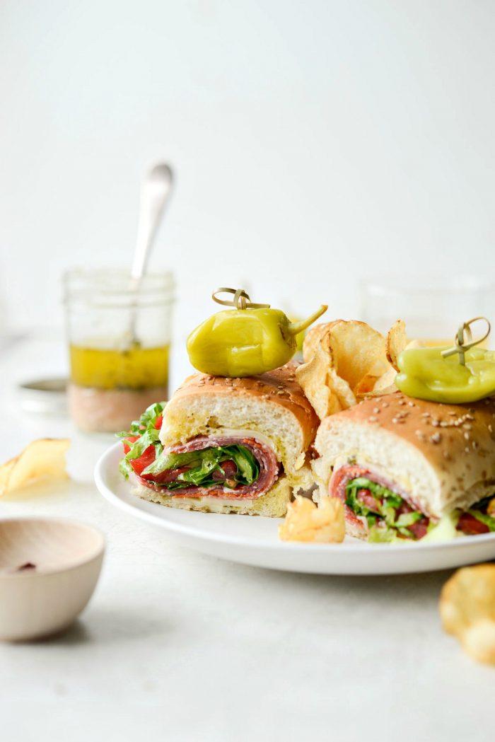Italian Sub Sandwich on white plate