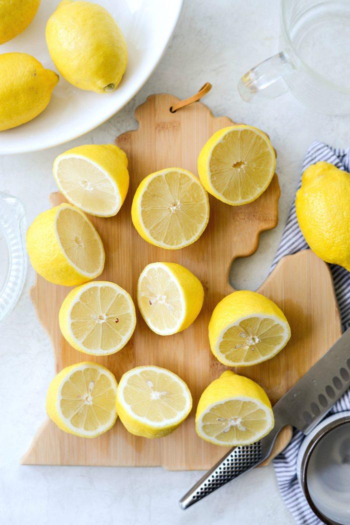 michigan shaped cutting board with lemons