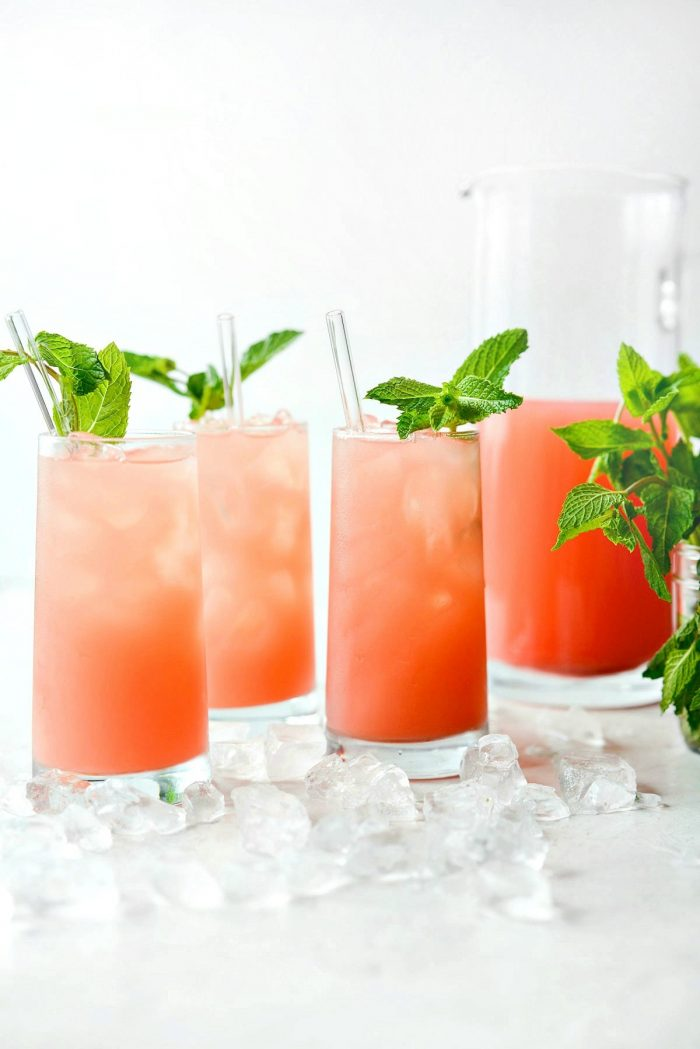watermelon lemonade served in glasses wit mint