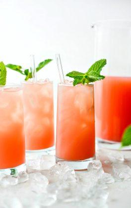 Fresh mint in glass of watermelon lemonade.