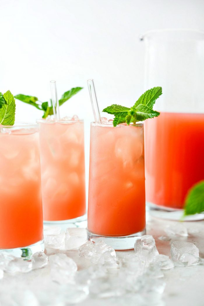 Fresh mint in glass of watermelon lemonade.