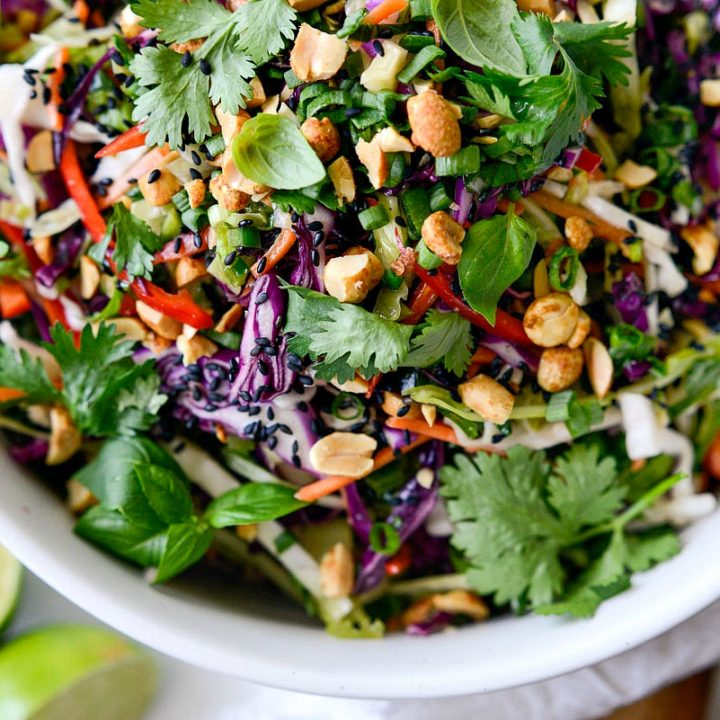 Asian Cabbage Slaw with Basil Ginger Dressing