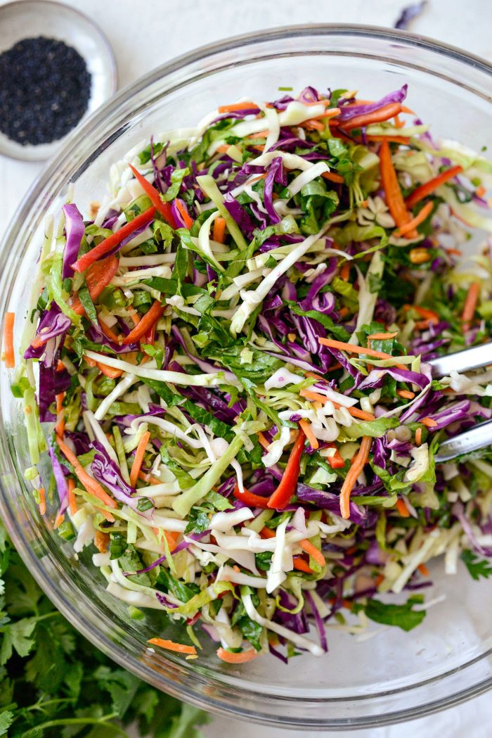 toss the asian cabbage slaw