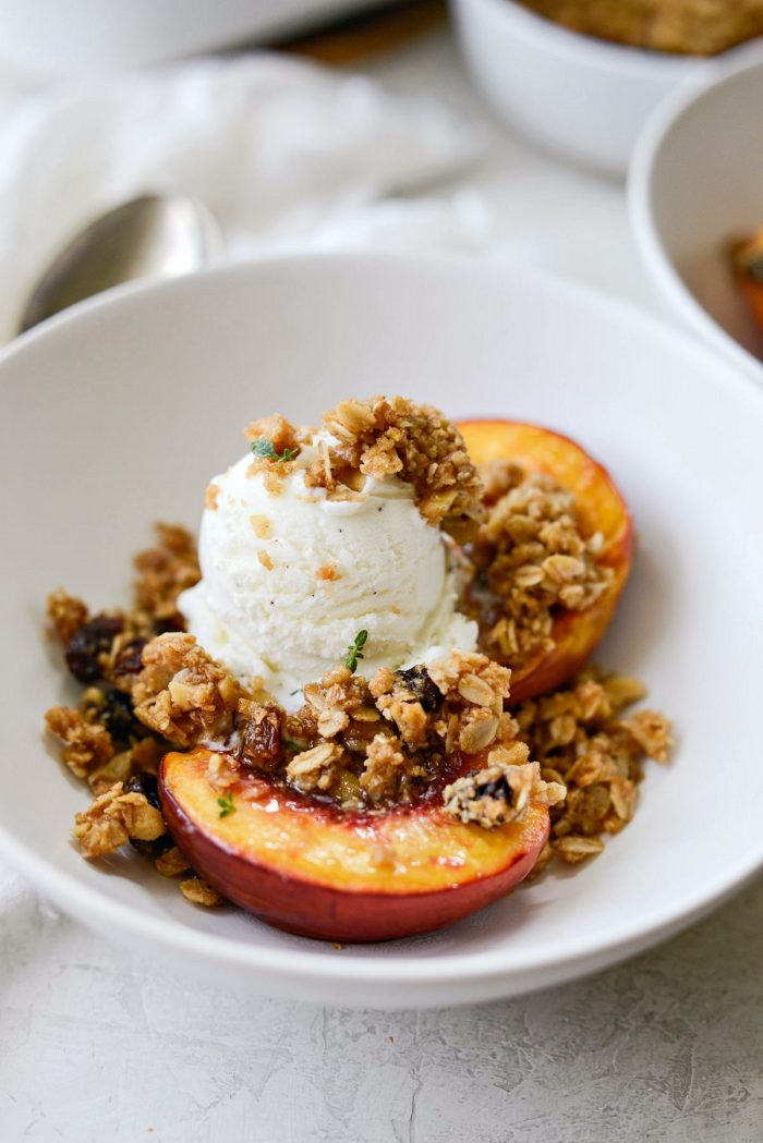 Baked Nectarines with Oatmeal Cookie Crumble