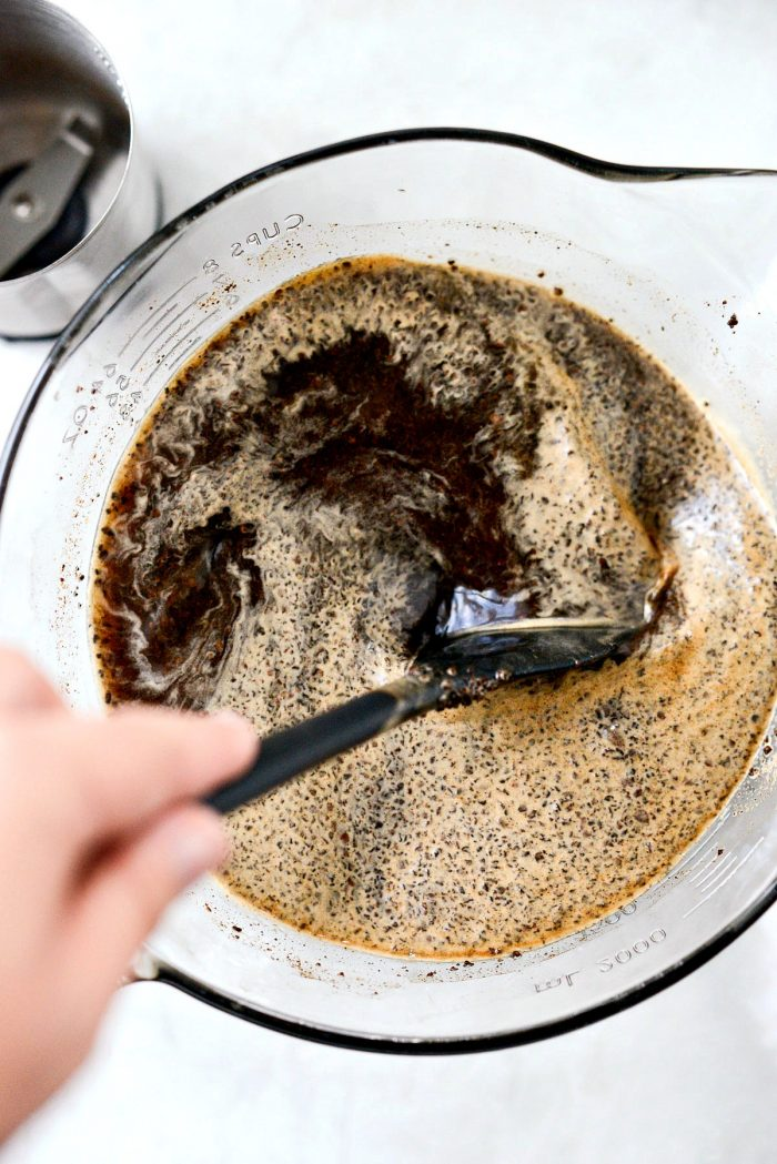 stir coffee grounds and water together