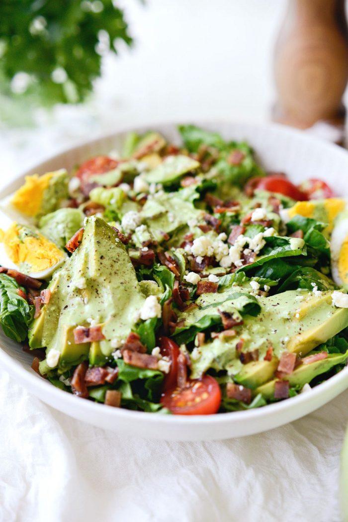 creamy greek yogurt Green Goddess salad dressing on cobb salad