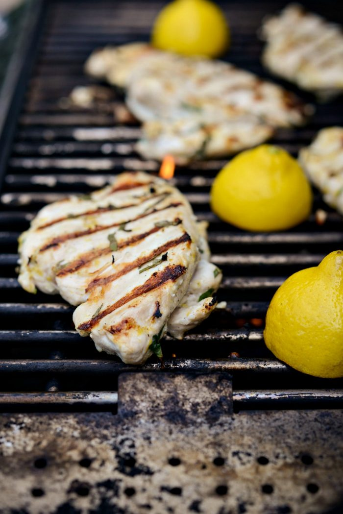 grilled lemon basil chicken on grill